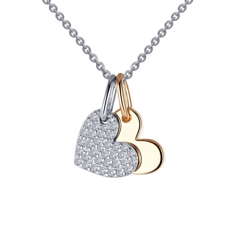 P0215CLT. Lafonn Sterling Silver Simulated Diamond Heart Shadow Pendant With Chain