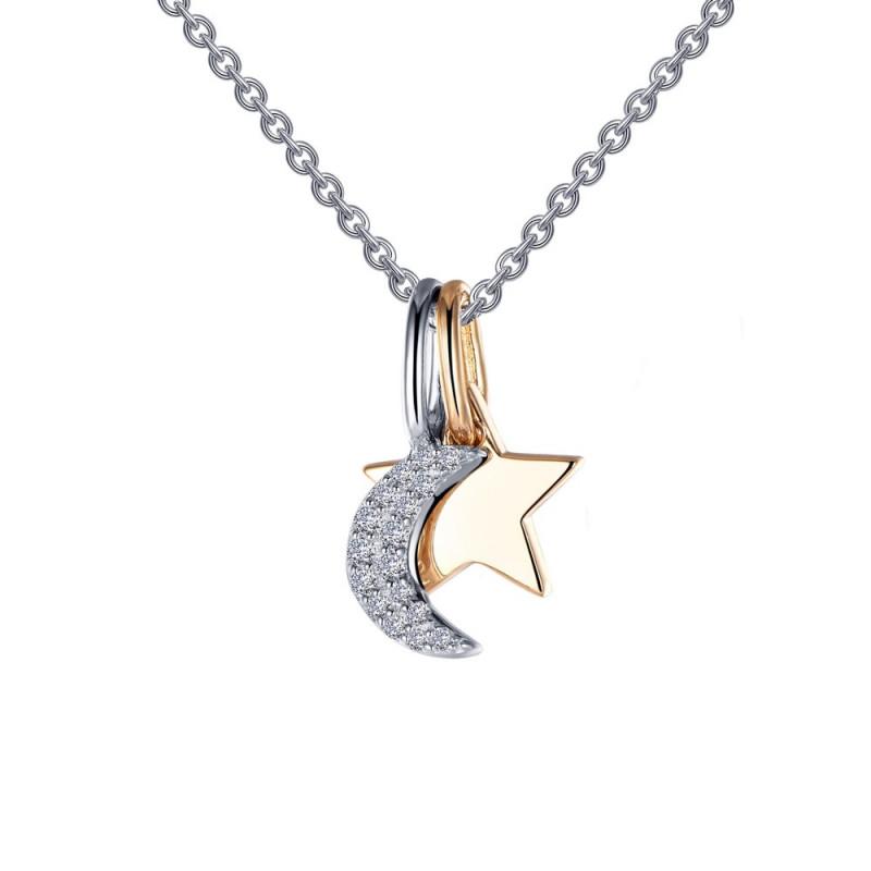 P0220CLT. Lafonn Sterling Silver Simulated Diamond Moon And Star Shadow Charm Pendant Set