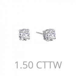 E0108CLP. Lafonn Sterling Silver Simulated Diamond Four Prong Stud Earrings