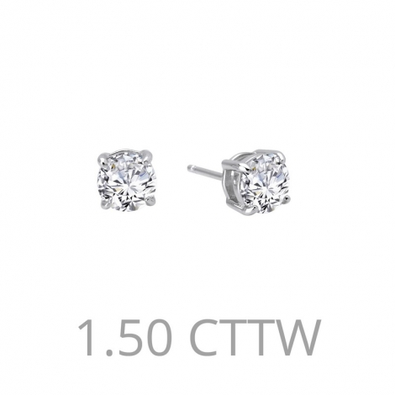 E0108CLP. Lafonn Sterling Silver Simulated Diamond Four Prong Stud Earrings