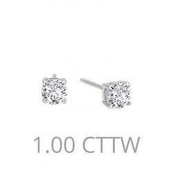 E0107CLP. Lafonn Sterling Silver Simulated Diamond Four Prong Stud Earrings