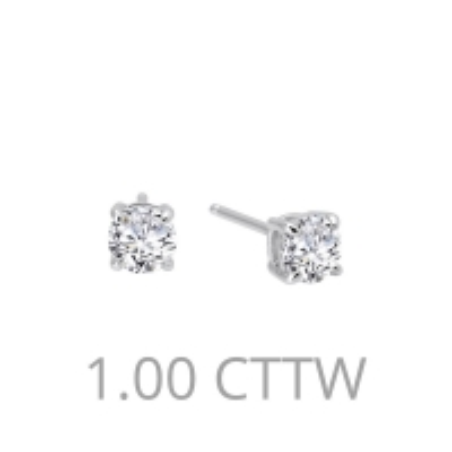 E0107CLP. Lafonn Sterling Silver Simulated Diamond Four Prong Stud Earrings