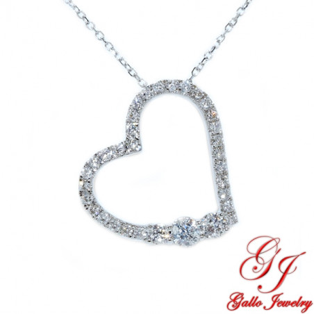117863. Women's Diamond Heart Pendant With Chain