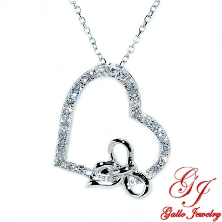 119618. Women's Diamond Heart Pendant And Bow With Chain