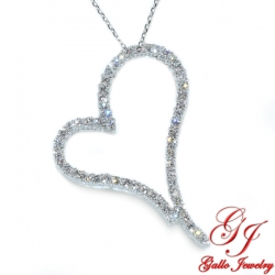 PEN02502. Women's Diamond Heart Pendant With Chain