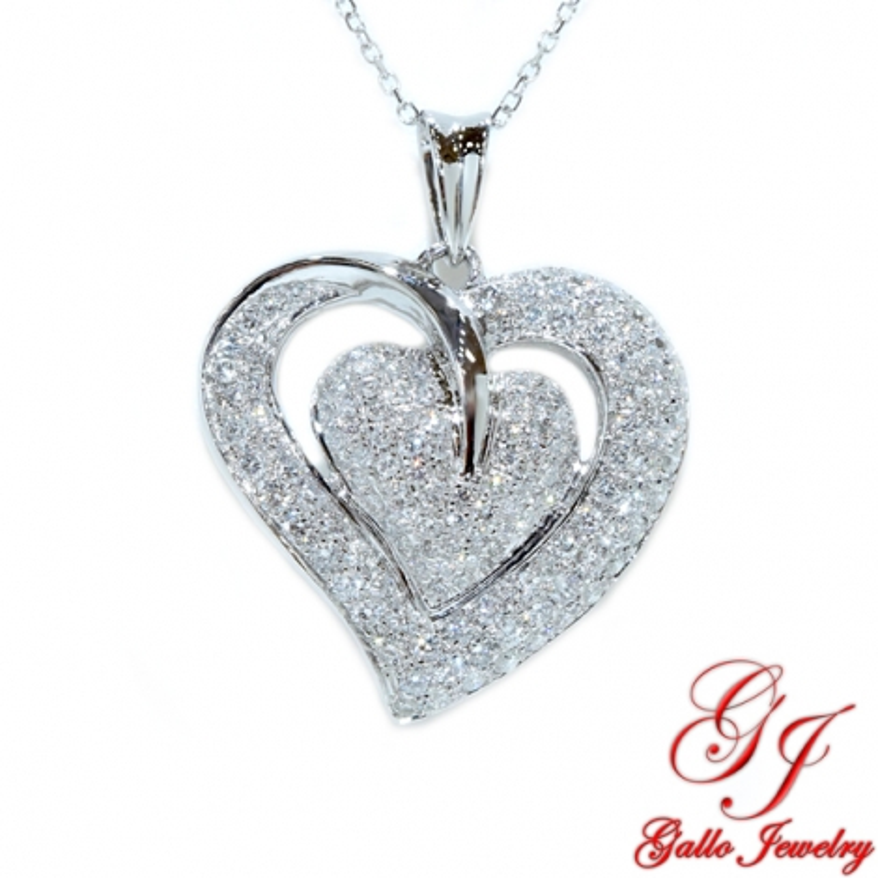 53099. Women's Diamond Heart Pendant With Chain
