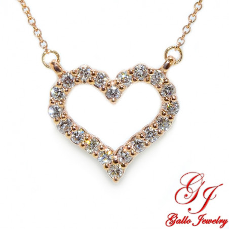 PEN02558. Women's Rose Gold Diamond Heart Pendant With Chain