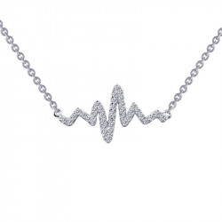 N0060CLP. Lafonn Sterling Silver Simulated Diamond Heartbeat Pendant