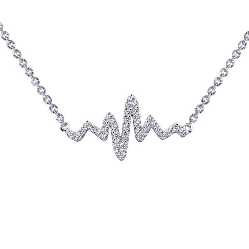 N0060CLP. Lafonn Sterling Silver Simulated Diamond Heartbeat Pendant