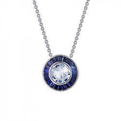 P0206CSP. Lafonn Sterling Silver Simulated Diamond And Sapphire Pendant