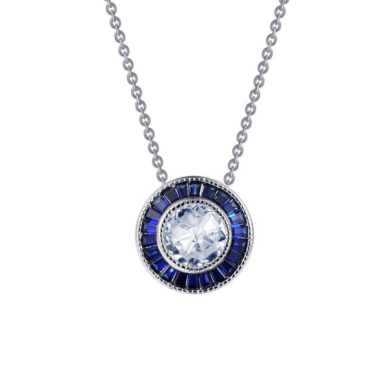 P0206CSP. Lafonn Sterling Silver Simulated Diamond And Sapphire Pendant