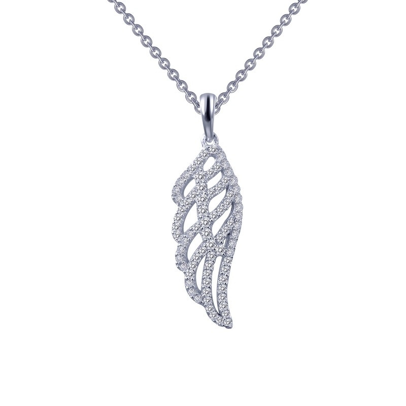 P0173CLP. Lafonn Sterling Silver Simulated Diamond Angel Wing Pendant With Chain