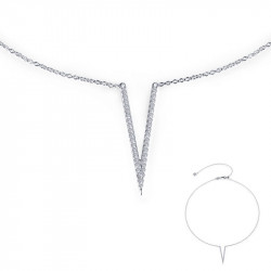 N0111CLP. Lafonn Sterling Silver Simulated Diamond V Neclace
