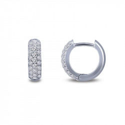 E0199CLP. Lafonn Sterling Silver Simulated Diamond Huggie Earrings