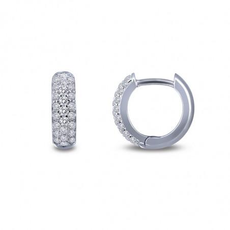 E0199CLP. Lafonn Sterling Silver Simulated Diamond Huggie Earrings