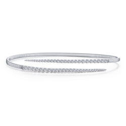 B0123CLP. Lafonn Sterling Silver Simulated Diamond Milano Bypass Bangle Bracelet
