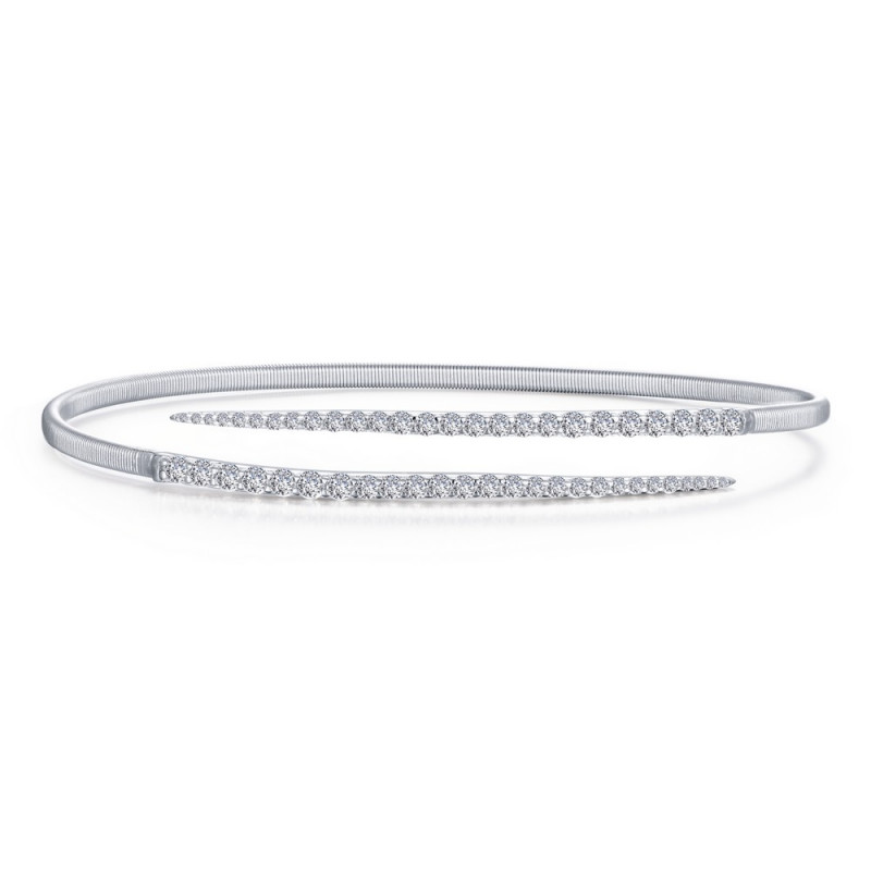 B0123CLP. Lafonn Sterling Silver Simulated Diamond Milano Bypass Bangle Bracelet