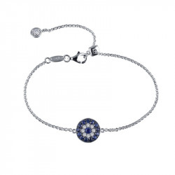 B0065CSP. Lafonn Sterling Silver Simulated Diamond And Sapphire Evil Eye Bracelet