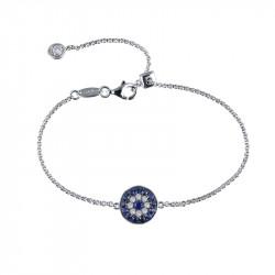 B0065CSP. Lafonn Sterling Silver Simulated Diamond And Sapphire Evil Eye Bracelet