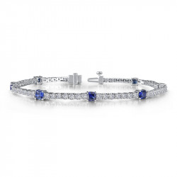 B0043CSP. Lafonn Sterling Silver Simulated Diamond And Sapphire Tennis Bracelet