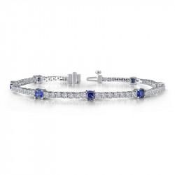 B0043CSP. Lafonn Sterling Silver Simulated Diamond And Sapphire Tennis Bracelet