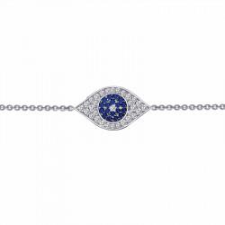 B0026CSP. Lafonn Sterling Silver Simulated Diamond And Sapphire Evil Eye Bracelet