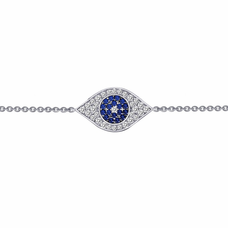 B0026CSP. Lafonn Sterling Silver Simulated Diamond And Sapphire Evil Eye Bracelet