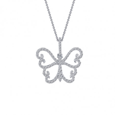 9P048CLP. Lafonn Sterling Silver Simulated Diamond Butterfly Pendant With Chain