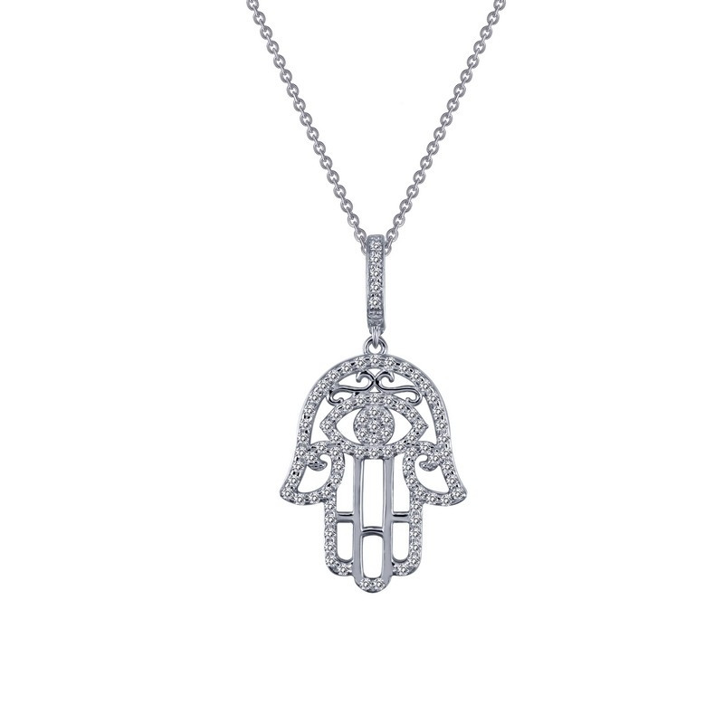 9P045CLP. Lafonn Sterling Silver Simulated Diamond Hamsa Pendant With Chain