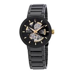 98A203 BULOVA Men's Modern Automatic Black Ion-Plated Stainless Steel Skeleton Watch