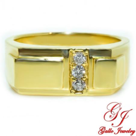 MR00614. 14K Yellow Gold Men's Diamond Ring