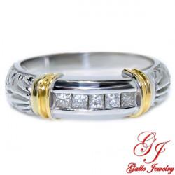 MR00611. 14K White/Yellow Gold Ring With Diamonds