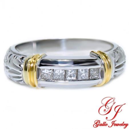 MR00611. 14K White/Yellow Gold Men's Diamond Ring