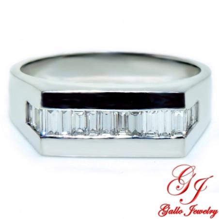 MR00609 14K White Gold Baguette Cut Diamond Men's Ring