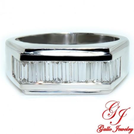 MR00606. 14K White Gold Baguette Cut Diamond Men's Ring
