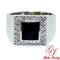 MR0060114K Black Onyx Ring With Diamonds White Gold