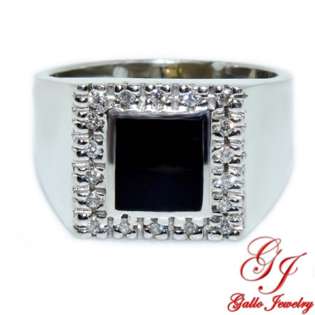 MR00601. 14K White Gold Diamond and Black Onyx Men's Ring
