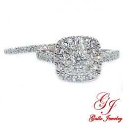 114800. Ladies Double Row Halo Engagement Ring with Matching Wedding Band