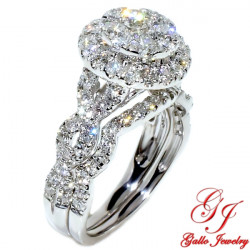 117199. Ladies Cluster Halo Engagement Ring With Matching Wedding Band