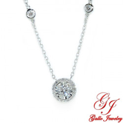 PEN02611. Illusion Halo Diamond By The Yard Necklace
