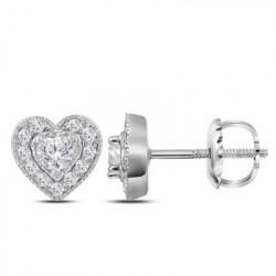110556. White Gold Heart Shape Diamond Earring