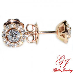 ER02462. Rose Gold Diamond Halo Stud Earrings