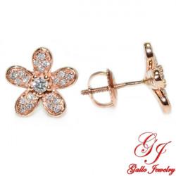 120000. Rose Gold Five Petal Diamond Stud Earring