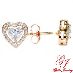 114360. Heart Shaped Diamond Stud Earring