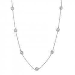 PEN02953. White Gold Diamond By The Yard Necklace