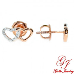 120001. Rose Gold Double Heart Stud Earring