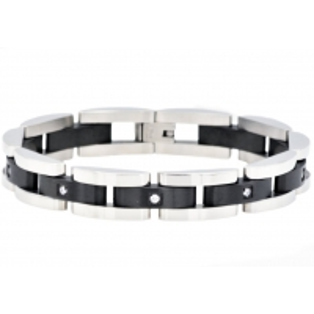 BJB49B. BlackJack Mens Black Plated Stainless Steel Bracelet With Cubic Zirconia