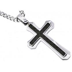 BJP69. BlackJack Mens Carbon Fiber Stainless Steel Cross Pendant