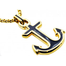 BJP146BG. Mens Black And Gold Plated Stainless Steel Anchor Pendant