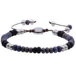 BJB188HM.  Mens Genuine Hematite Stainless Steel Beaded Bracelet